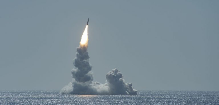 cc Flickr Official U.S. Navy Page, modified, https://creativecommons.org/licenses/by/2.0/, PACIFIC OCEAN (Feb. 12, 2020) An unarmed Trident II (D5LE) missile launches from Ohio-class ballistic missile submarine USS Maine (SSBN 741) off the coast of San Diego, California, Feb. 12, 2020. The test launch was part of the U.S. Navy Strategic Systems Programs' demonstration and shakedown operation certification process. The successful launch demonstrated the readiness of the SSBN's strategic weapon system and crew following the submarine's engineered refueling overhaul. This launch marks 177 successful missile launches of the Trident II (D5 & D5LE) strategic weapon system. (U.S. Navy Photo by Mass Communication Specialist 2nd Class Thomas Gooley/Released)