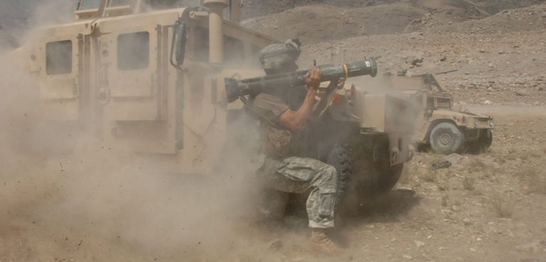 U.S. Army Staff Sgt. Jason Geranen, of 2nd Battalion, 82nd Aviation Brigade (Long Range Surveillance Detachment), engages a Taliban fighting positions with an AT4 rocket near the village of Allah Say, Afghanistan, Aug. 21, 2007. (U.S. Army photo by Staff Sgt. Michael L. Casteel) www.army.mil