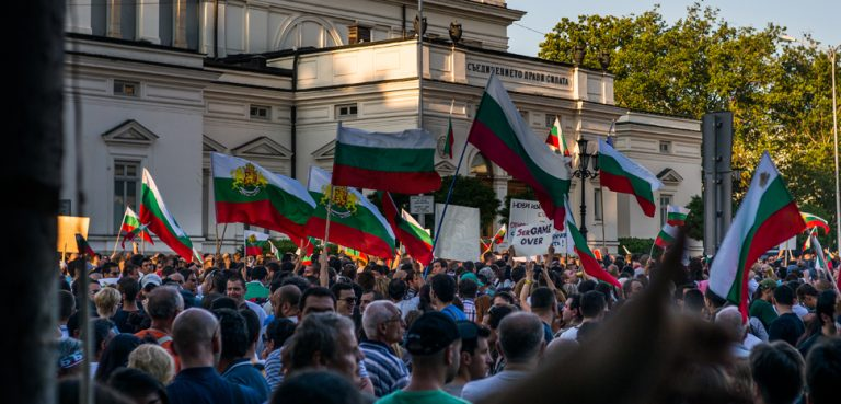 Protests in Sofia in 2013. Thus far, for all the public suspicion of the national COVID-19 response, there has been little in the way of collective action. cc Georgi C, modified, https://creativecommons.org/licenses/by/2.0/