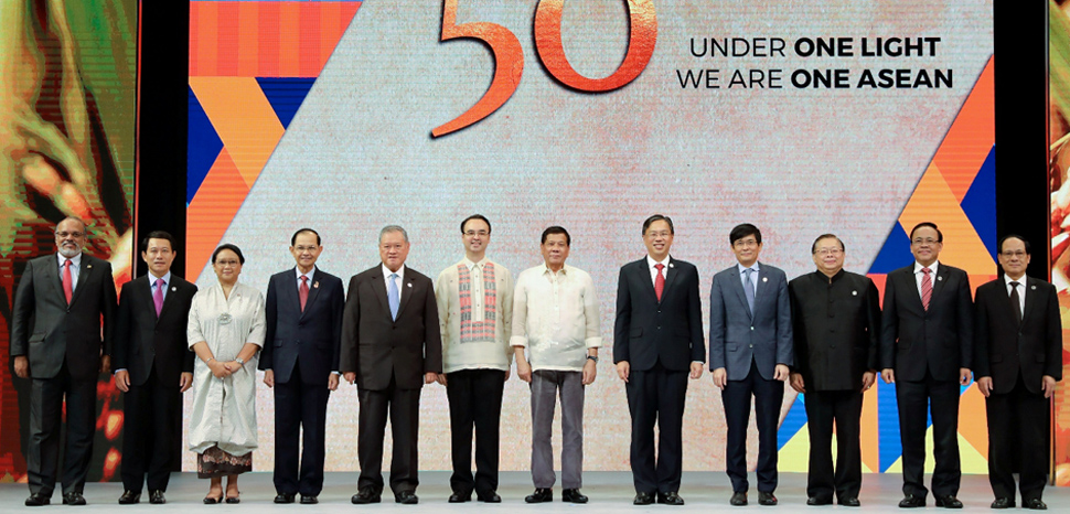 President Rodrigo Roa Duterte poses for a photo with the foreign ministers from participating countries in the Association of Southeast Asian Nations (ASEAN) Foreign Ministers Meeting during its closing ceremony at the Philippine International Convention Center in Pasay City, Metro Manila on August 8, 2017., Presidential Communications Operations Office, Philippines, public domain, modified, https://commons.wikimedia.org/wiki/File:ASEAN_50th_Anniversary.jpg