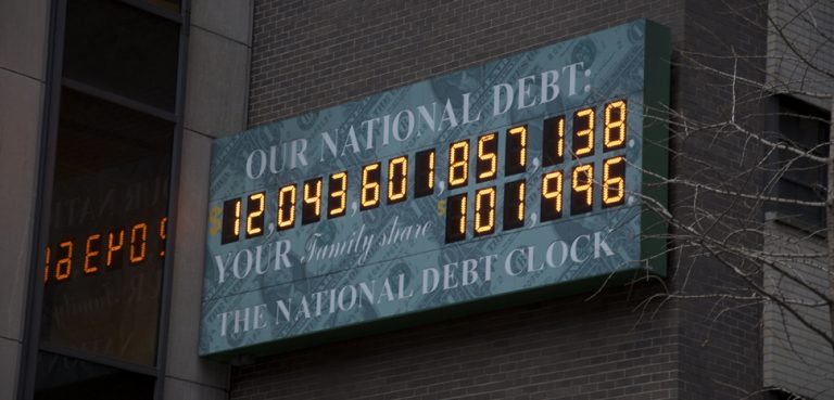 The US federal debt has more than doubled since this photograph of the debt clock was taken in 2009. cc Flickr Nick Webb, modified, https://creativecommons.org/licenses/by/2.0/