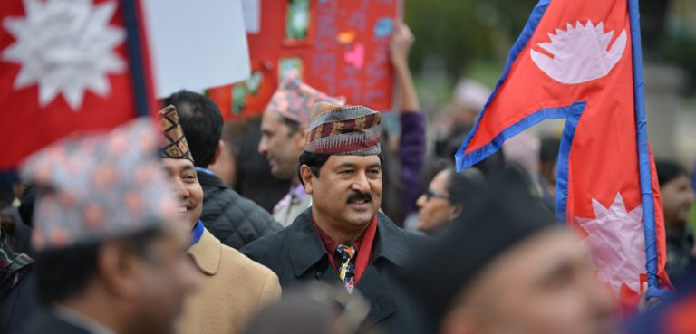 a protest in Nepal in 2015 against the Indian blockade, cc Flickr S Pakhrin, modified, https://creativecommons.org/licenses/by/2.0/