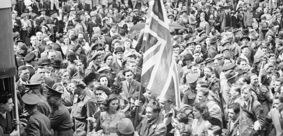 VE Day celebrations in the UK. Source: http://media.iwm.org.uk/iwm/mediaLib//44/media-44850/large.jpg, modified, public domain