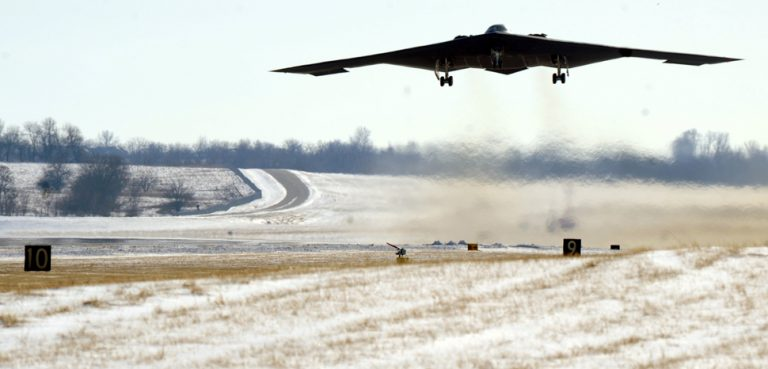 cc Flickr Air Combat Command United States Air Force, modified, https://creativecommons.org/licenses/by/2.0/, WHITEMAN AIR FORCE BASE, Mo. – As a B-2 Stealth Bomber takes off, you can see the heat coming off the runway during the cold winter day, January 5. The B-2 is part of the 509th Bomb Wing arsenal of 20 stealth bombers with a conventional and nuclear mission. (U.S. Air Force photo/Airman 1st Class Carlin Leslie)