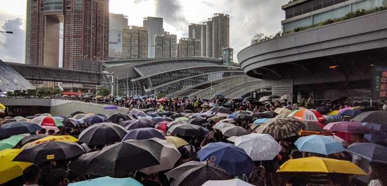 Hong Kong protests in 2019; cc Flickr Studio Incendo, modified, https://creativecommons.org/licenses/by/2.0/