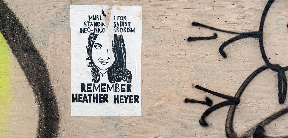 A memorial for Heather Heyer, who was killed in an anti-white supremacy protest in Charlottesville in 2017. cc Flickr Lorie Shaull, modified, https://creativecommons.org/licenses/by-sa/2.0/