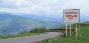 A roadside sign welcomes travellers arriving in the Republic of Nagorno Karabakh from Armenia.,cc Flickr David Stanley, modified, https://creativecommons.org/licenses/by/2.0/