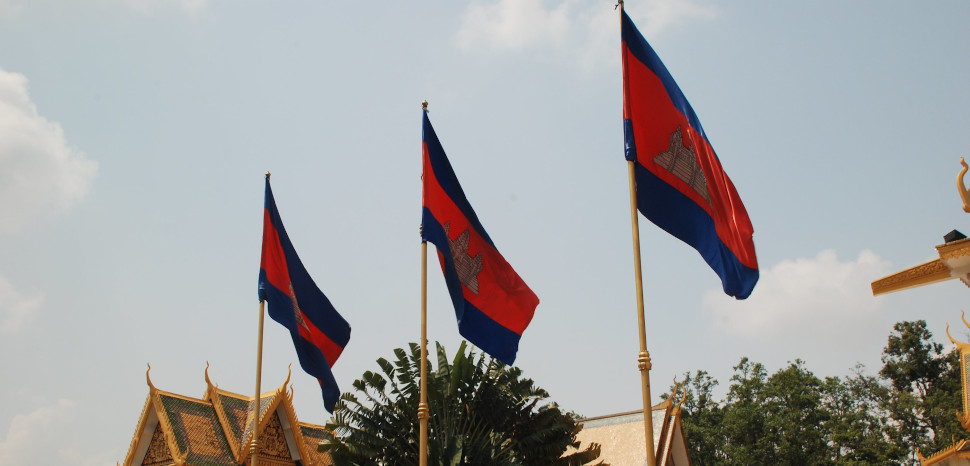 Cambodian Flag, CC Flickr, Damien Dempsey, Modified, https://www.flickr.com/photos/yarra64/3394225935/, https://creativecommons.org/licenses/by/2.0/