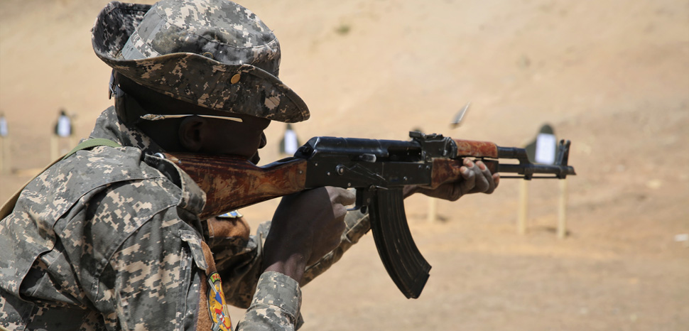 A Chadian Special Forces soldier receives basic rifle marksmanship training at a live fire range Mar. 6, 2017 in Massaguet, Chad as part of Flintlock 17. Flintlock is an annual special operations exercise involving more than 20 nation forces that strengthens security institutions, promotes multilateral sharing of information, and develops interoperability among partner nations in North and West Africa. (Army photo by Sgt. Derek Hamilton) Unit: U.S. Africa Command DVIDS Tags: marksmanship; Flintlock; Chad; Flintlock17, https://commons.wikimedia.org/wiki/File:Marksmanship_training_in_Chad_during_Flintlock_2017_170306-A-KH850-007.jpg