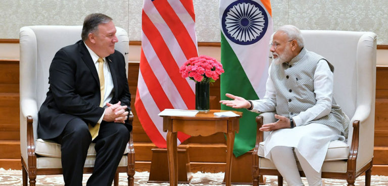 Prime Minister Modi and Secretary of State Pompeo meet in 2019, cc Prime Minister's Office, modified, https://commons.wikimedia.org/w/index.php?title=Special:Search&redirs=0&search=modi%20pompeo&fulltext=Search&ns0=1&ns6=1&ns14=1&title=Special:Search&advanced=1&fulltext=Advanced%20search#/media/File:Pompeo_meets_with_PM_Modi_in_New_Delhi_(2).jpg