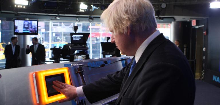 Mayor of London, Boris Johnson pushes the opening bell at NASDAQ the morning of 9/14/09 as part of Think London's digital breakfast.cc Flickr Think London, modified, https://www.flickr.com/photos/thinklondonevents/3919827072/in/photolist-6Yo92o-4PpYva-UnJvd5-5NHpq4-W5yxy2-cCdaXW-cCdaLC-2h5PSg9-J6Wtnb-hDfSP2-2gdT5Q5-2gFRENT-9oTK3U-Ka35St-2gHmhVR-2jdHZUg-58L4Mx-2iHUfKZ-bCHbSz-2gLQQAV-2gLQQpn-2gLQQvp-2iGnDHp-2gLRBcK-2hAp5yR-2gHmhSj-2hmvArX-4KDYDW-KgtJoC-2hAp5xi-6Ypvrs-2gLRBg7-e4SttF-2iGnDFq-YdncbS-2gLQS8x-NJNKMW-L4J27Y-Yhvp1i-2gLQQMX-2gLQQWV-2gLRBMc-2gLRByX-2gLRBWf-2gLQRnE-2gLRBnu-2gLQRLW-2gLRCxq-2gLQRUw-2gLQQtf