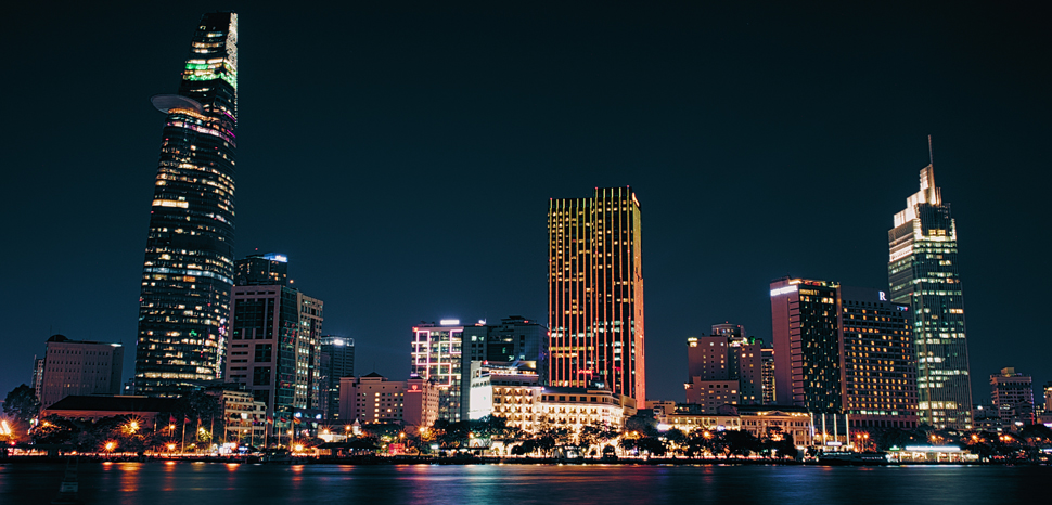 Ho Chi Minh City skyline, cc Flickr Sketyl none, modified, https://creativecommons.org/licenses/by/2.0/