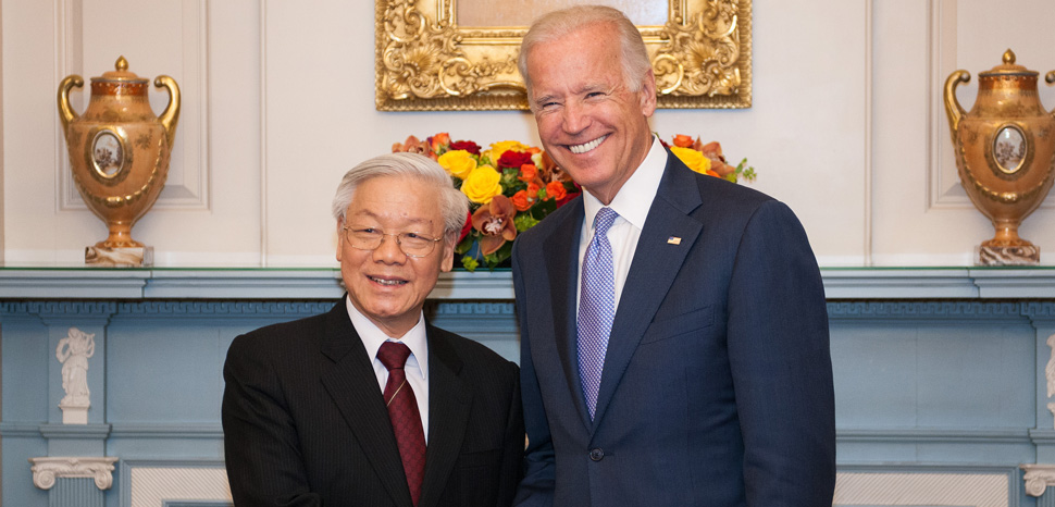 Vice President Biden shakes hands with General Secretary Nguyen Phu Trong at a luncheon at the U.S. Department of State in Washington, D.C. on July 7, 2015. [State Department Photo/Public Domain], cc Flickr US Department of State, modified, https://commons.wikimedia.org/wiki/File:Vice_President_Biden_Shakes_Hands_With_General_Secretary_Nguyen_Phu_Trong_at_a_Luncheon_at_the_State_Department_(18883780193).jpg