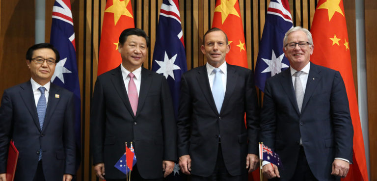 Prime Minister and Andrew Robb signing the Free Trade Agreement with Chinese President Xi and Minister for Commerce Gao Hucheng., 2014, cc Department of Foreign Affairs and Trade website – www.dfat.gov.au, modified 0 https://commons.wikimedia.org/wiki/File:Abbott_and_Robb_signing_the_Free_Trade_Agreement_with_Chinese_President_Xi_and_Minister_for_Commerce_Gao_Hucheng_November_2014.jpg