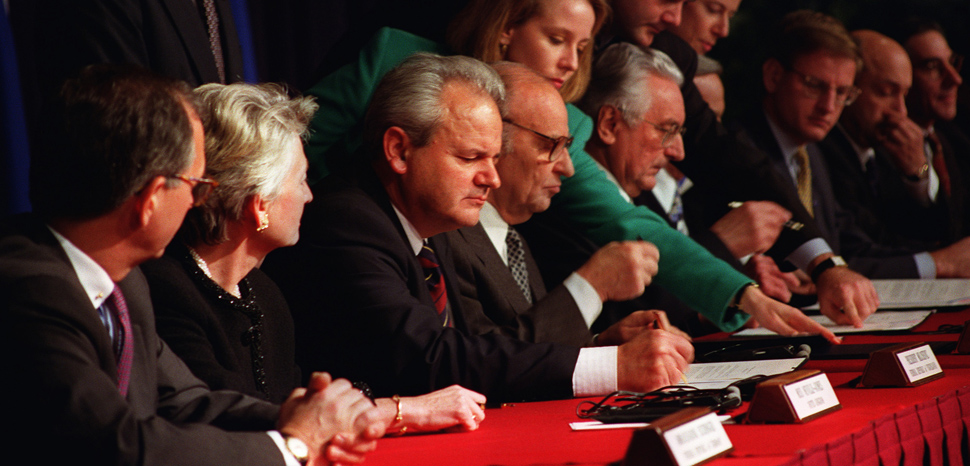 """President Slobodan Milosevic of the Federal Republic of Yugoslavia, President Alija Izetbegovic of the Republic of Bosnia and Herzegovina, and President Franjo Tudjman of the Republic of Croatia initial the Dayton Peace Accords. The Balkan Proximity Peace Talks were conducted at Wright-Patterson Air Force Base Nov. 1-21, 1995. The talks ended the conflict arising from the breakup of the Republic of Yugoslavia. The Dayton Accords paved the way for the signing of the final """"General Framework Agreement for Peace in Bosnia and Herzegovina"""" on Dec. 14 at the Elysee Palace in Paris., .S. Air Force/Staff Sgt. Brian Schlumbohm, modified, https://commons.wikimedia.org/w/index.php?title=Special:Search&title=Special:Search&redirs=0&search=dayton+accords&fulltext=Search&fulltext=Advanced+search&ns0=1&ns6=1&ns14=1&advanced=1&searchToken=ckjw4dq0m30ngxyxzqwjc5kr2#%2Fmedia%2FFile%3ADaytonAgreement.jpg"""