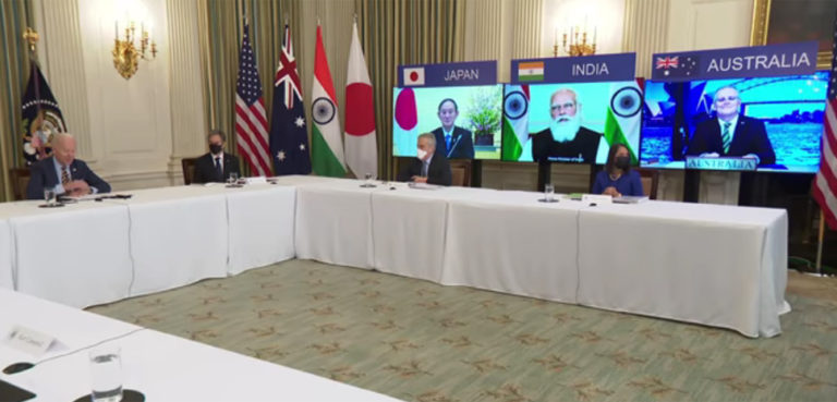 English: President Biden and Vice President Harris Meet Virtually with their Counterparts in the Quad; Prime Minister Narendra Modi of India, Prime Minister Scott Morrison of Australia, and Prime Minister Yoshihide Suga of Japan, source: Video; https://commons.wikimedia.org/wiki/File:President_Biden_and_Vice_President_Harris_Meet_Virtually_with_their_Counterparts_in_the_Quad.webm