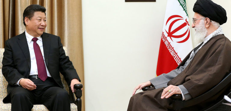 cc Official website of Ali Khamenei, Supreme leader of Iran, modified, https://commons.wikimedia.org/wiki/File:Ali_Khamenei_receives_Xi_Jinping_in_his_house_(7).jpg