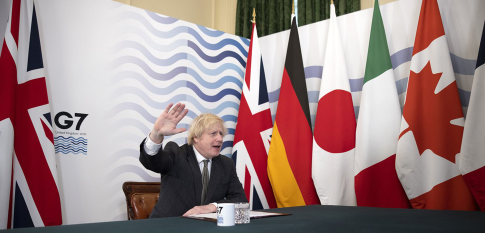 cc Boris Johnson twitter, modified, OGL, https://commons.wikimedia.org/w/index.php?title=Special:Search&redirs=0&search=g7%20boris%20johnson&fulltext=Search&ns0=1&ns6=1&ns14=1&title=Special:Search&advanced=1&fulltext=Advanced%20search#/media/File:Boris_Johnson_hosts_virtual_G7_meeting_(1).jpg