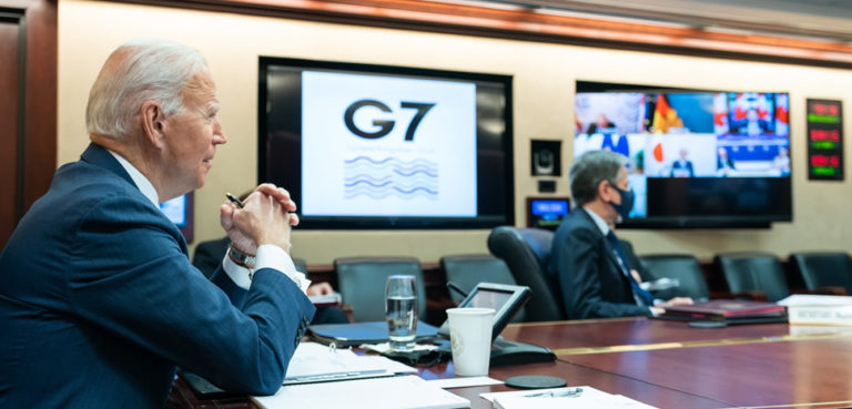 Joe Biden in virtual G7 meeting earlier this year; cc White House, modified, public domain, https://en.wikipedia.org/wiki/File:President_Joe_Biden_meets_with_G7_leaders.jpg