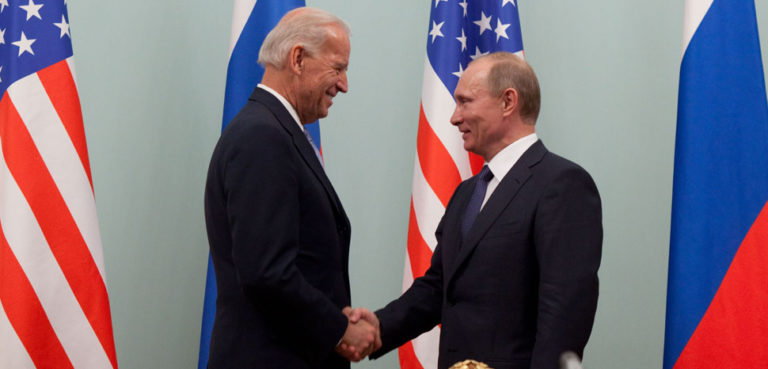 Vice President Joe Biden greets Russian Prime Minister Vladimir Putin at the Russian White House, in Moscow, Russia, March 10, 2011. (Official White House Photo by David Lienemann), cc White House, modified, https://commons.wikimedia.org/wiki/File:Vice_President_Joe_Biden_greets_Russian_Prime_Minister_Vladimir_Putin.jpg