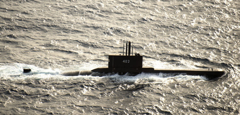 150808-N-UN259-193 JAVA SEA (Aug. 8, 2015) The Indonesian submarine KRI Nanggala (402) participates in a photo exercise during Cooperation Afloat Readiness and Training (CARAT) Indonesia 2015. In it's 21st year, CARAT is an annual, bilateral exercise series with the U.S. Navy, U.S. Marine Corps and the armed forces of nine partner nations including Bangladesh, Brunei, Cambodia, Indonesia, Malaysia, the Philippines, Singapore, Thailand and Timor-Leste. (U.S. Navy photo by Mass Communication Specialist 3rd Class Alonzo M. Archer/Released), cc Naval Surface Warriors, flickr, modified