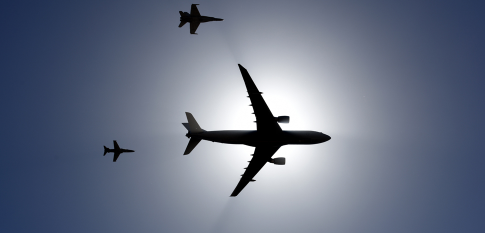 US Department of Defense, modified, A formation of Royal Australian Air Force aircraft fly over Avalon Airport at Geelong, Victoria, Australia, Feb. 25, 2019. Along with Australian aircraft, U.S. military aircraft were to be showcased through flight demonstrations and static displays during the 2019 Australian International Airshow and Aerospace & Defence Exposition. (U.S. Air Force photo by Staff Sgt. Sergio A. Gamboa) www.dvidshub.net, https://flickr.com/photos/39955793@N07/46495003394/