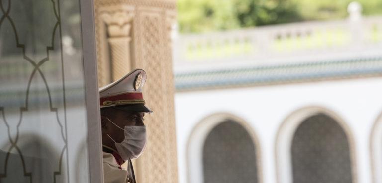 The palace view as Defense Secretary Dr. Mark T. Esper meets with Tunisian President Kais Saied, at Carthage Palace, Tunisia, Sept. 30, 2020. (DoD photo by Lisa Ferdinando), cc U.S. Secretary of Defense, modified, https://commons.wikimedia.org/wiki/File:200930-D-BN624-2191_(50402134718).jpg