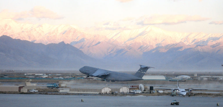 A C-5 Galaxy takes off from a runway at Bagram Air Base, Afghanistan. In recent years, the 22nd Airlift Squadron has participated in missions in Afghanistan supporting Operation Enduring Freedom., cc USGOV-PD, modified, https://en.wikipedia.org/wiki/File:22d_Airlift_Squadron_C-5_taking_off_from_Bagram_Air_Base_Afghanistan.jpg