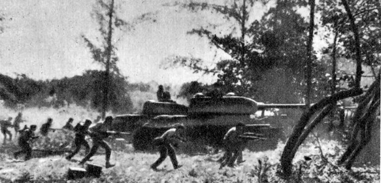 Counter-attack by Cuban Revolutionary Armed Forces supported by T-34 tanks near Playa Giron during the Bay of Pigs invasion, 19 April 1961.. , https://en.wikipedia.org/wiki/File:Attack_near_Playa_Giron._April_19,_1961._-_panoramio.jpg