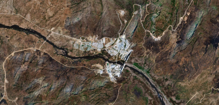 The Grand Ethiopian Renaissance Dam, satellite shot in 2019, cc Pierre Markuse from Hamm, Germany, modified,