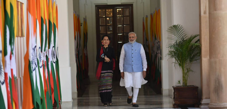 cc https://commons.wikimedia.org/wiki/File:Prime_Minister_Narendra_Modi_with_Daw_Aung_San_Suu_Kyi_in_New_Delhi.jpg, modified, Prime Minister's Office, Government of India