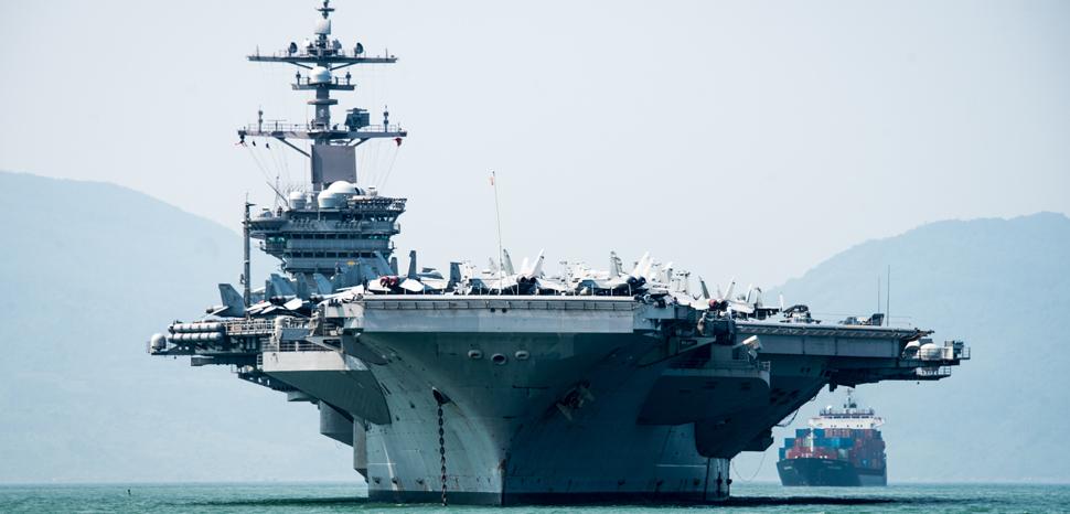 USS Carl Vinson (CVN 70) arrives in Da Nang, Vietnam. DA NANG, Vietnam (March 5, 2018) The Nimitz-class aircraft carrier USS Carl Vinson (CVN 70) arrives in Da Nang, Vietnam for a scheduled port visit. The Carl Vinson Strike Group is in the Western Pacific as part of a regularly scheduled deployment. (U.S. Navy photo by Mass Communication Specialist 3rd Class Devin M. Monroe/Released)180305-N-BS159-0039, cc US Navy, https://flickr.com/photos/usnavy/26762606268/in/photolist-GQt629-2hV8n1F-GLVms1-2iCvpPM-24Yef2D-29U79uz-JwA7PD-LBaYWr-c89tdh-aCXHNx-2kpv84Z-22B8WEC-2jNABgq-hwLWC7-2jNBtZk-BFFRv4-CbWNSb-o5mBB6-Lzx8he-24WQaFM-GY3eeJ-wBonDF-23zKzLt-24WQd4x-23VawvN-FkNjuz-22gUa4A-GMi8vA-GS8H23-22gUak7-FkNk2X-23CPvZe-23CPx4t-252QPAV-23VauYj-22eX6Rj-23CPqVX-FkNkek-23CPtbt-24V5MdH-23CPssV-24V5M2R-FkNkWH