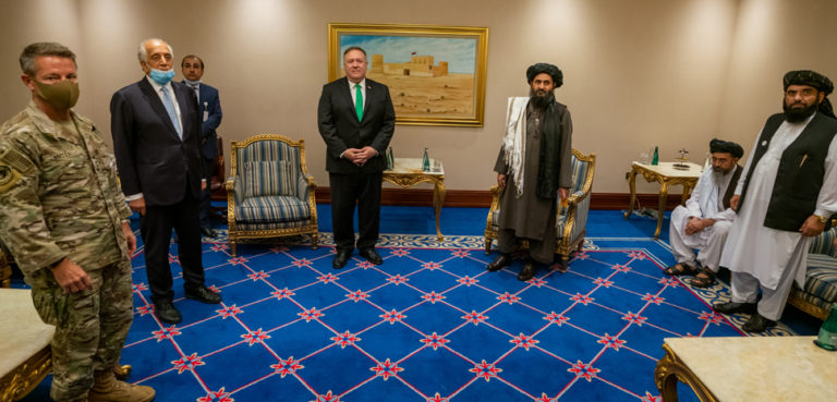 cc U.S. Department of State from United States, modified, https://commons.wikimedia.org/wiki/File:Secretary_Pompeo_Meets_With_the_Taliban_Delegation_(50333305012).jpg
