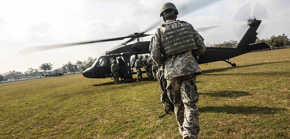 U.S. Soldiers, assigned to Alpha Company, 2nd Battalion, 3rd Infantry Regiment, 1-2 Stryker Brigade, board a UH-60 Black Hawk during an air assault exercise with Royal Thai Army Soldiers assigned to 31st Regiment, 1st Battalion, 3rd Riffle Company, during exercise Cobra Gold 16 in Lop Buri, Thailand, Feb. 13, 2016. Cobra Gold increases cooperation, and collaboration among partner nations in order to achieve effective solution to common challenges. The U.S Soldiers are currently deployed from Joint Base Lewis-McChord, Wash., on the first leg of Pacific Pathways 16-1, the U.S. Army Pacific's premier method to capitalize on multiple training opportunities in several countries with partner militaries over a three-to-four month period. Unit: 25th Infantry Division, modified, https://commons.wikimedia.org/w/index.php?title=Special:Search&limit=500&offset=0&ns0=1&ns6=1&ns14=1&sort=last_edit_desc&search=thailand+army+filetype%3Abitmap&sort=last_edit_desc&advancedSearch-current={%22fields%22:{%22filetype%22:%22bitmap%22}}#/media/File:Air_assault_exercise_CG_16_160213-A-HH432-002.jpg