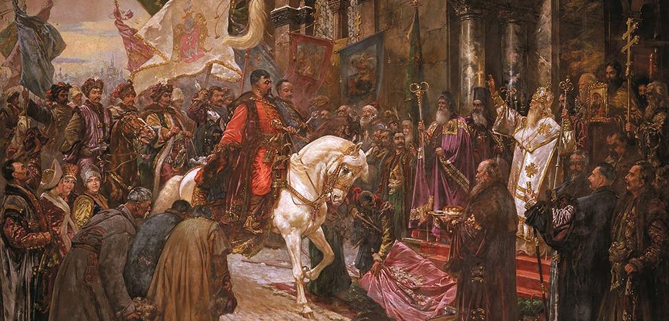 Hetman Bohdan Khmelnytsky's triumphal entry to Kyiv in 1648, cc, modified, https://en.wikipedia.org/wiki/Cossack_Hetmanate#/media/File:Pic_I_V_Ivasiuk_Mykola_Bohdan_Khmelnytskys_Entry_to_Kyiv.jpg