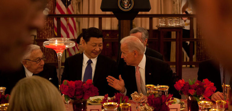 Vice President Joe Biden talks with Chinese Vice President Xi and former Secretary of State Henry Kissinger during a luncheon at the State Department, in Washington, DC, February 14, 2012. (Official White House Photo by David Lienemann)https://obamawhitehouse.archives.gov/blog/2012/02/15/vice-president-biden-s-turn-host-vice-president-xi-china-us